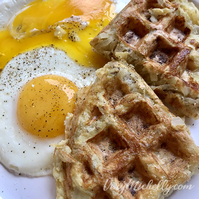 Waffle Iron Hashbrowns and Eggs