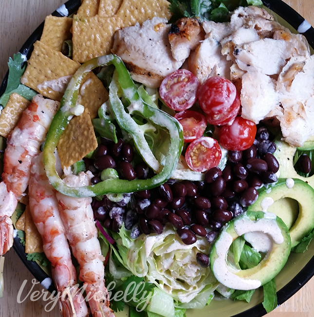 Southwestern Salad with Good Thins Corn Crackers
